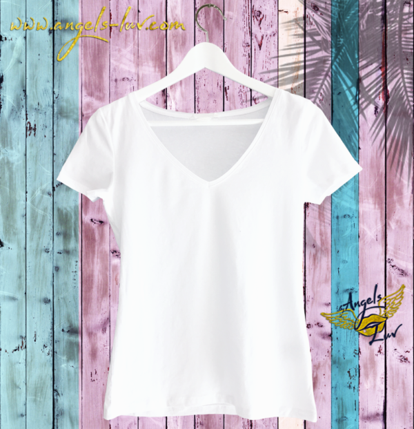 women T Shirt white v neck vibes shop