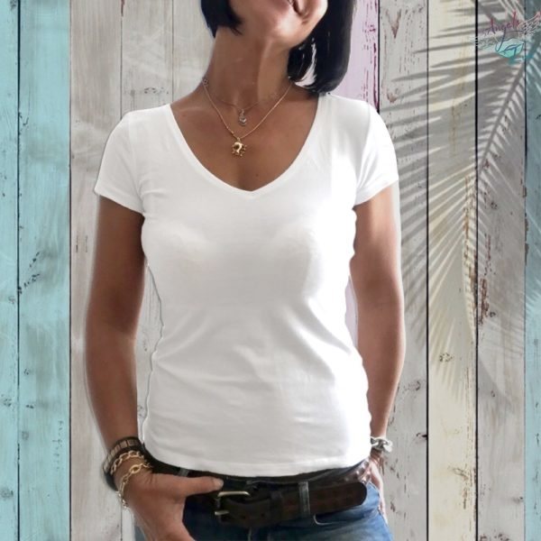Women white organic cotton t shirt