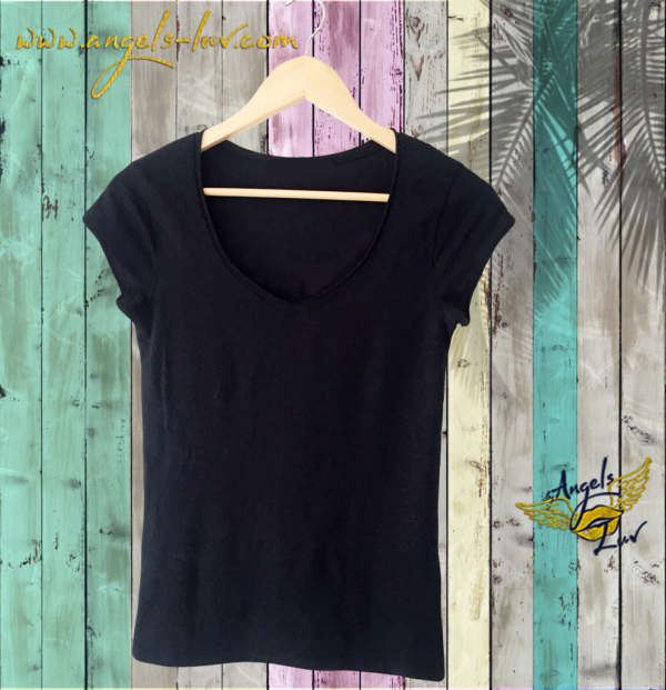 Black round neck t shirt women, angels luv, angels luv vibes and shirts