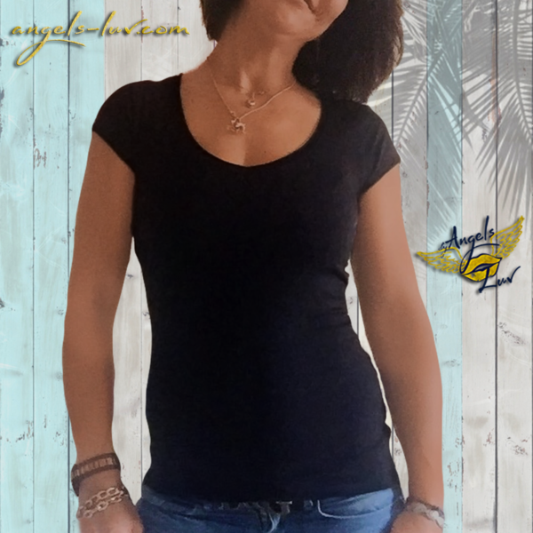 women T Shirt black v neck vibes shop