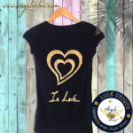valentine in love t shirt golden hearts