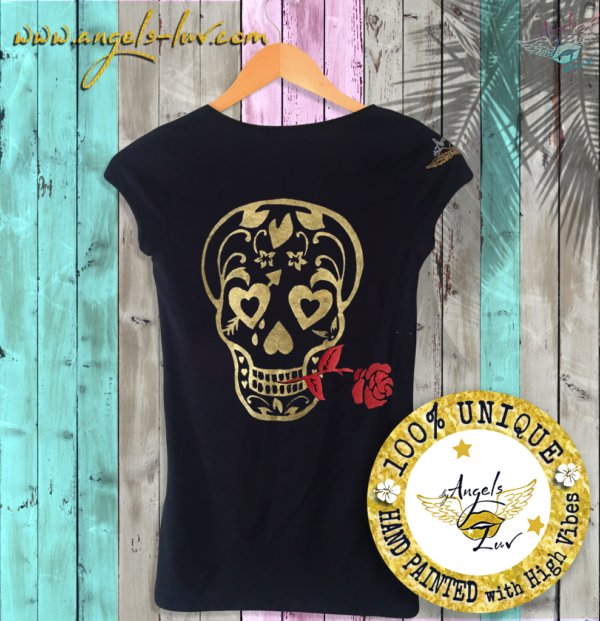 skull head rose t shirt custom made