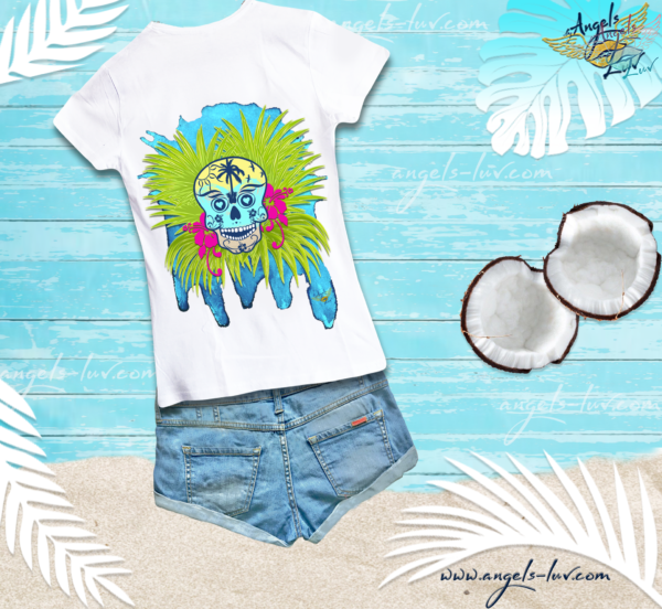 colorful skull t shirt summer times girls