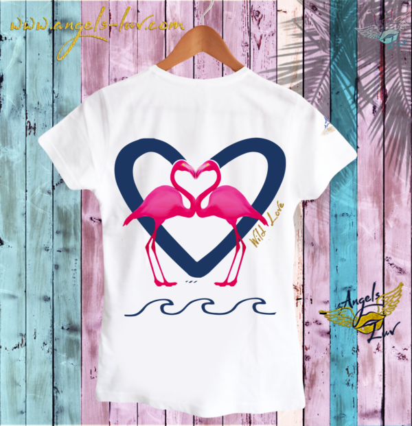 PINK FLAMINGOS BLUE LOVE HEART WILD WOMAN T SHIRT