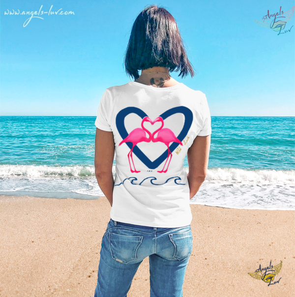 flamingos wild heart woman t shirt beach girl